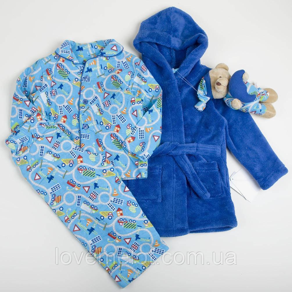"""Теплый детский Халат велсофт синий + теплая фланелевая пижама + игрушка """"Николас"""", размер 80 см"""