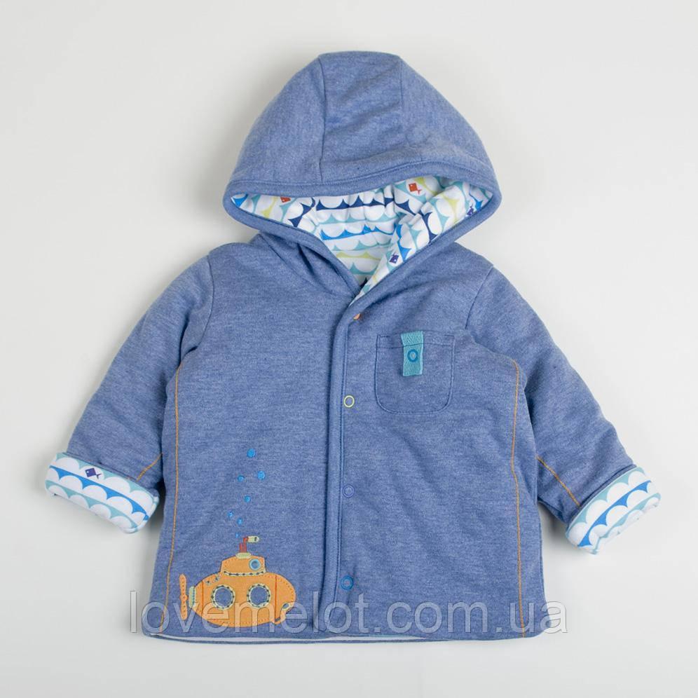 """Детская теплая кофта для новорожденного двухсторонняя """"Батискаф"""", кофта для мальчика на рост 56см"""