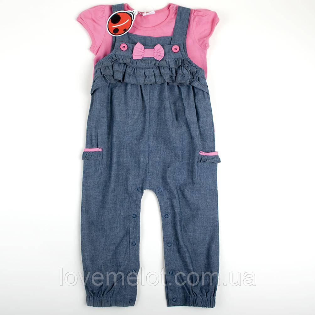 """Детский полукомбинезон легкий джинсовый с футболкой """"Лапка"""" для девочки летний на 92см рост"""