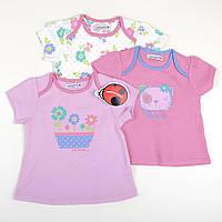 """Набор детских футболок """"Фиалковый букет"""" для девочки, размер 86 см"""