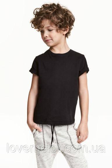 Футболка детская для мальчика органик черная, 116 и 140 рост