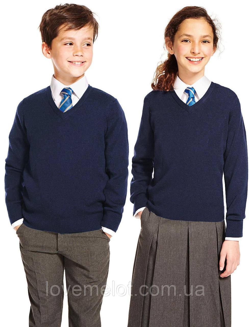8eb468c3373 Джемпер школьный M S синий уни - шерсть мериноса  продажа