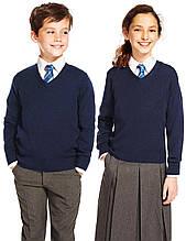 Детский свитер джемпер школьный M&S синий уни - шерсть мериноса кофта для школы, размер 140 см
