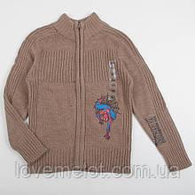 """Детский вязаный свитер теплый на рост 128см реглан молнии """"Спайдермен"""" для мальчика"""