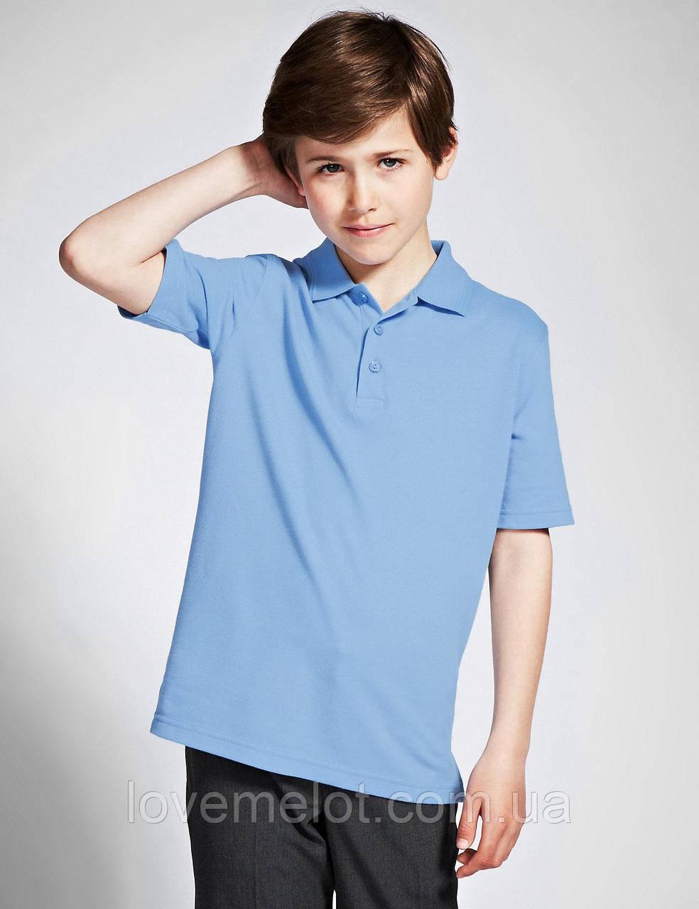 """Детская футболка Тенниска - поло для мальчика Marks&Spencer голубая """"Шарль"""" рост 104, 110см"""