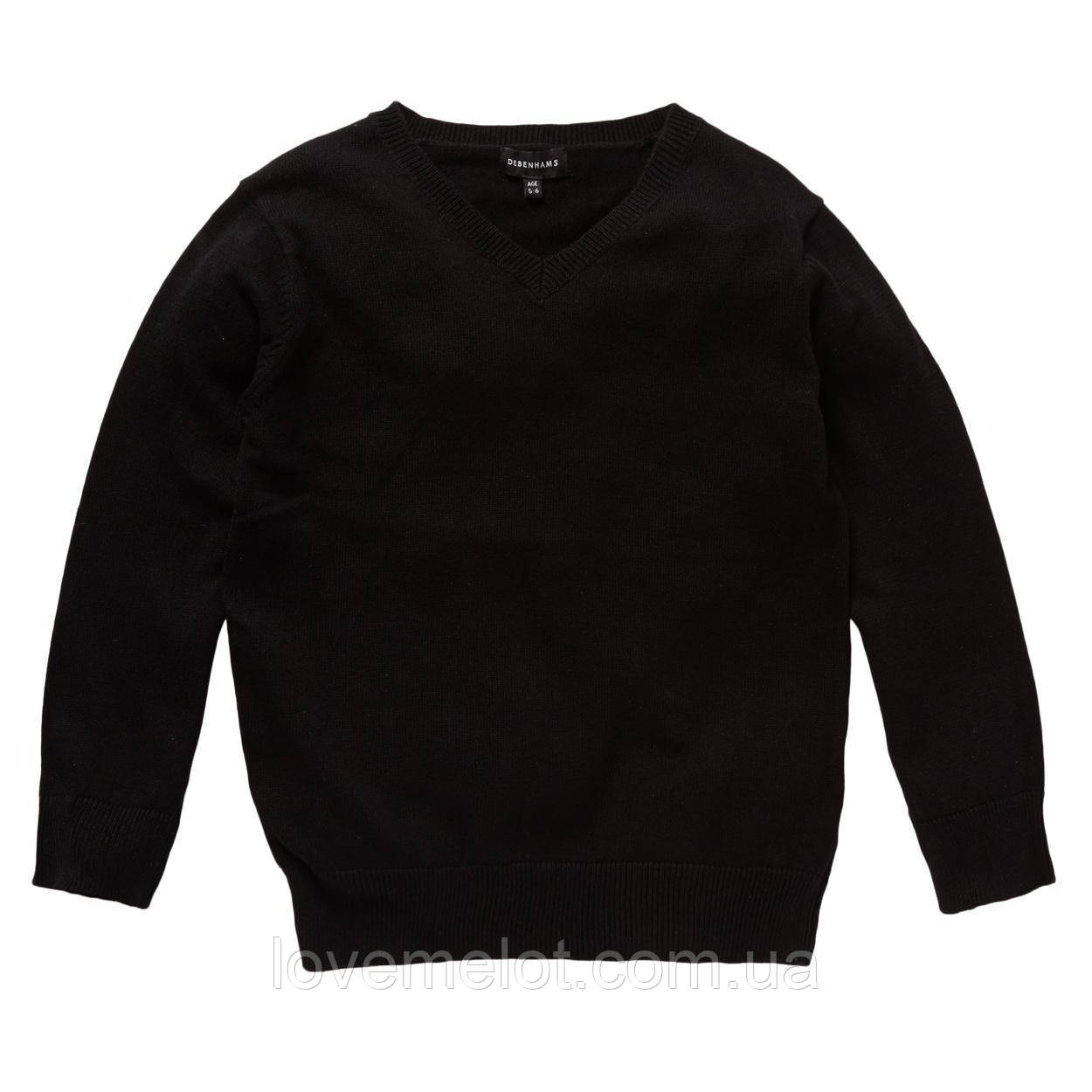 """Детский Школьный свитер кофта джемпер Debenhams """"Знания"""" черный унисекс, размер 116 см"""