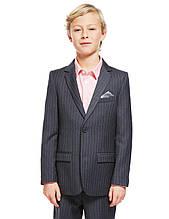 Детский пиджак Marks&Spencer в полоску для мальчика, размер 128 см, школьный пиджак для мальчика