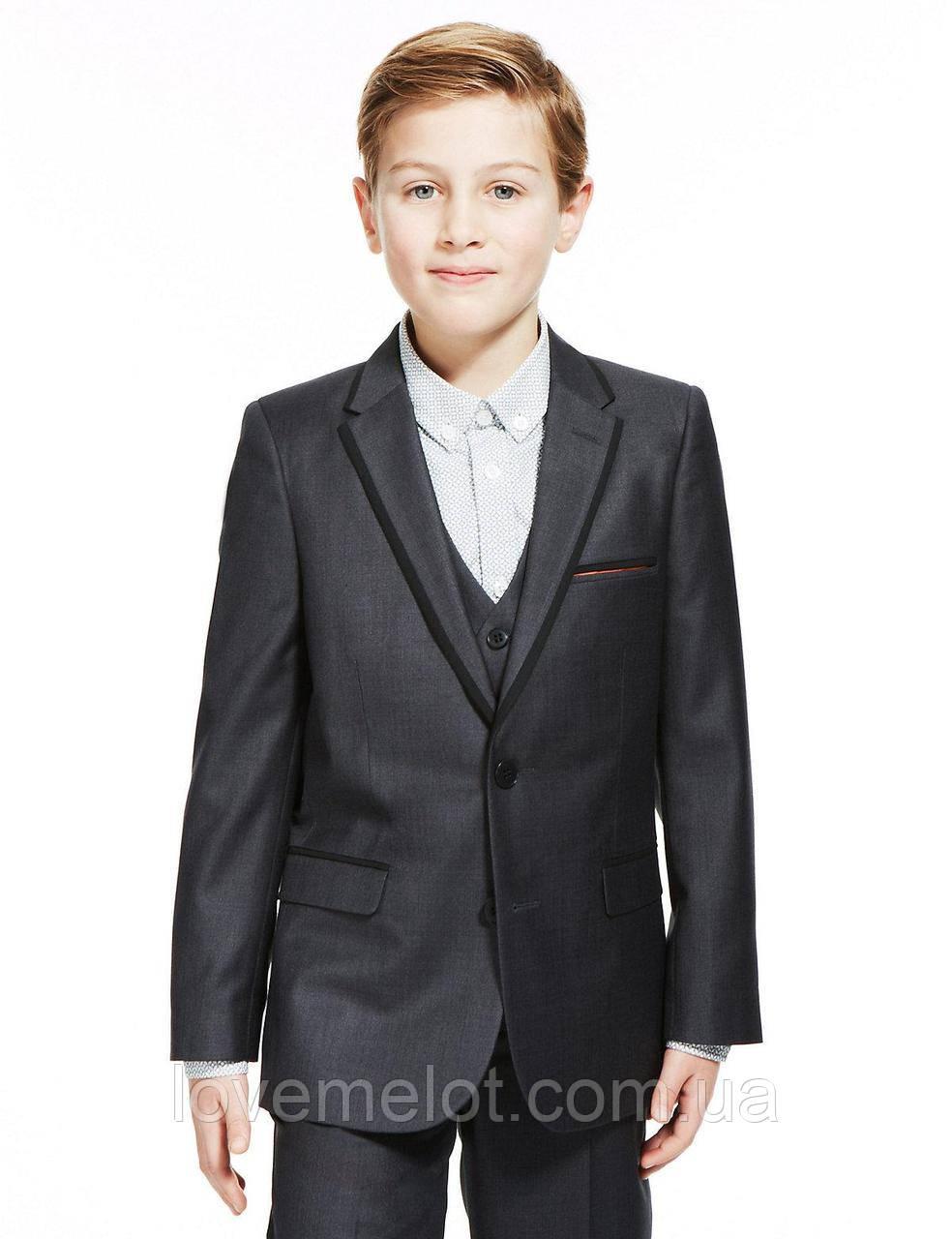 """Детский школьный пиджак Marks&Spencer """"Графит"""" для мальчика, размер 128 см (7-8 лет), школьная форма"""