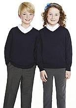 Детский школьный свитер джемпер синий кофта синего цвета F&F для мальчика и девочки на рост 110см и 116см