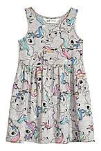 """Платье-сарафан детский трикотажный """"Единороги"""" для девочки, на 3-4 года, рост 104 см"""