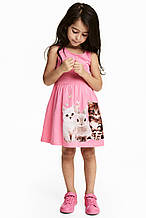 """Платье-сарафан детский трикотажный """"Лапочки"""" для девочки, рост 116 см и 128 см"""