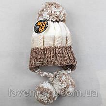 """Детская шапка с шерстью теплая вязаная зимняя шапочка с помпонами для девочки """"Милашка"""" 3-6 лет"""