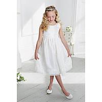 """Детское платье дизайнерское нарядное для девочки на утренник или новый год белое 122см  """"Селина"""""""