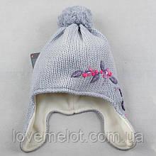 """Детская шапка теплая вязанная с шерстью, шапочка для девочки зимняя на флисе """"Веточка"""" 5-8 лет"""