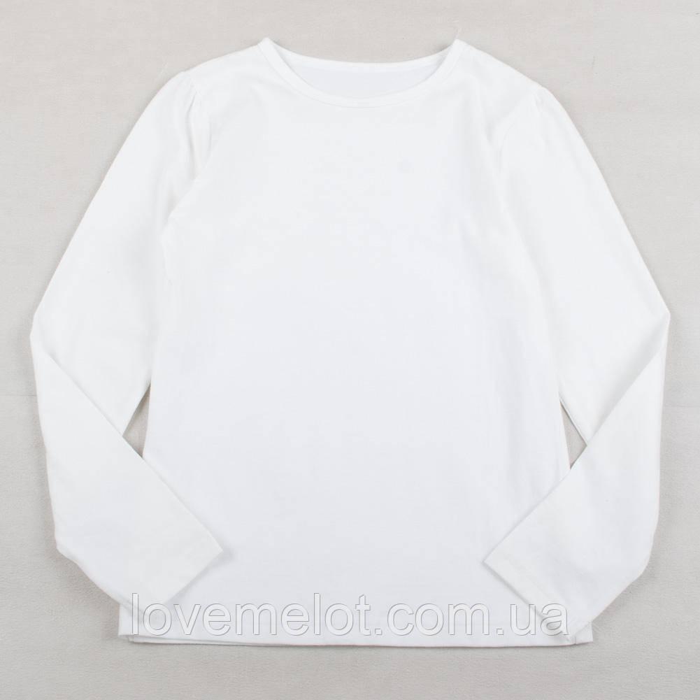 """Дитячий шкільний реглан білий George """"Легкість"""" для дівчинки з довгим рукавом бавовняний на 122,128,134,140 см"""