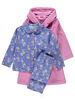 """Детский набор велсофт теплый халат + пижамка теплая фланелевая + игрушка """"Сладкие грёзы"""" для девочки на 2-3г"""