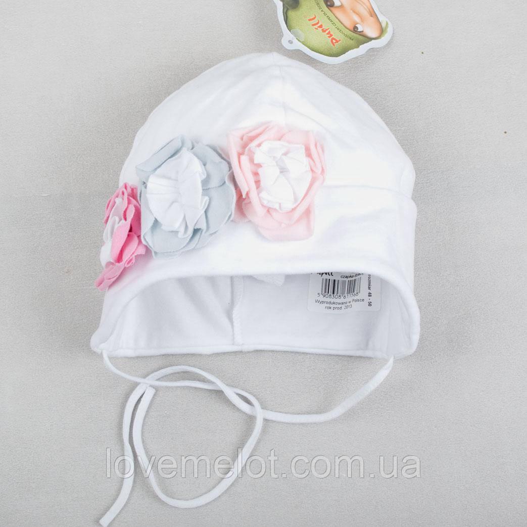 "Детская трикотажная шапочка белая для девочки, шапка на завязках ""Рози"" размер 2-4 года"