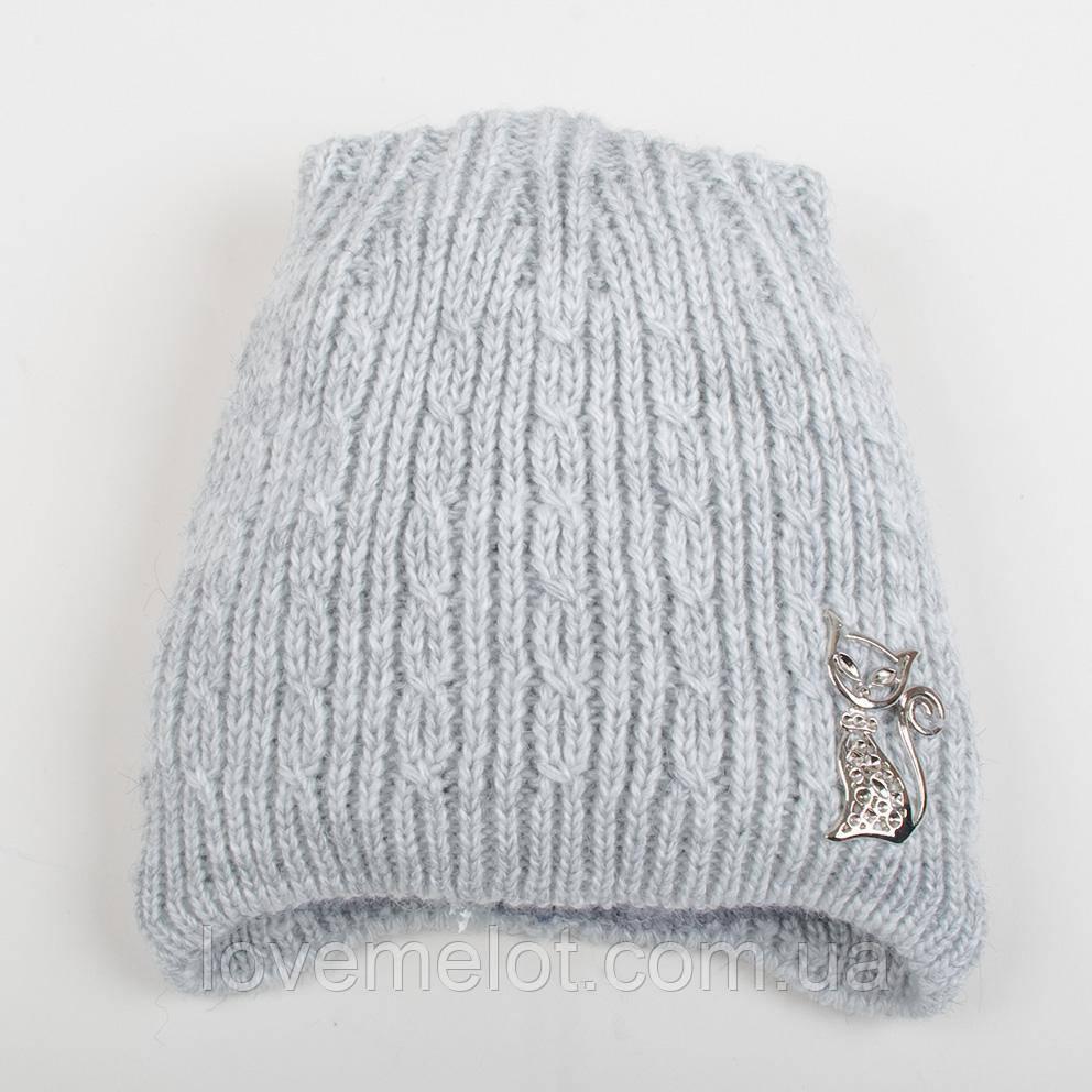 """Детская теплая шапка на флисе зимняя для девочки """"Кошечка"""" для девочки светло серая, на 5-8 лет"""