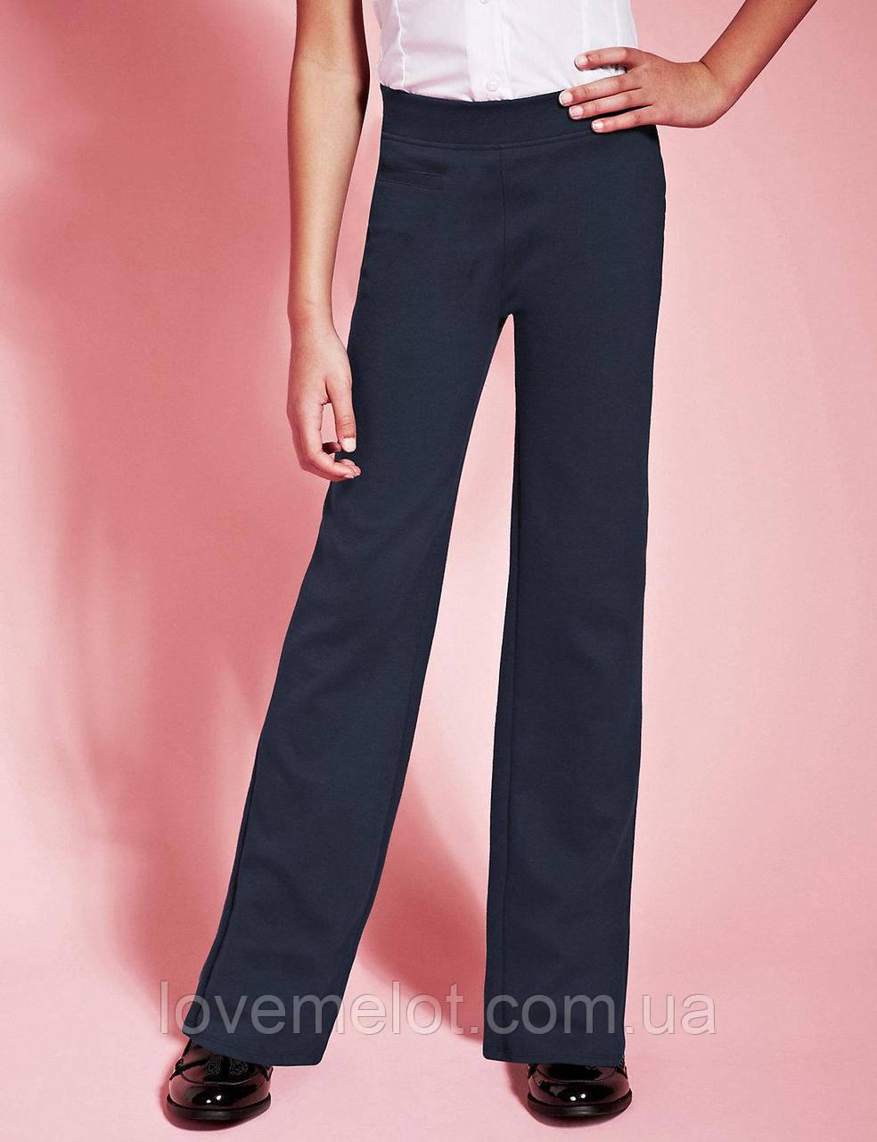 """Детские брюки школьные для девочки джерси синие M&S """"Нина"""" на рост 134, 140см брюки для школы"""