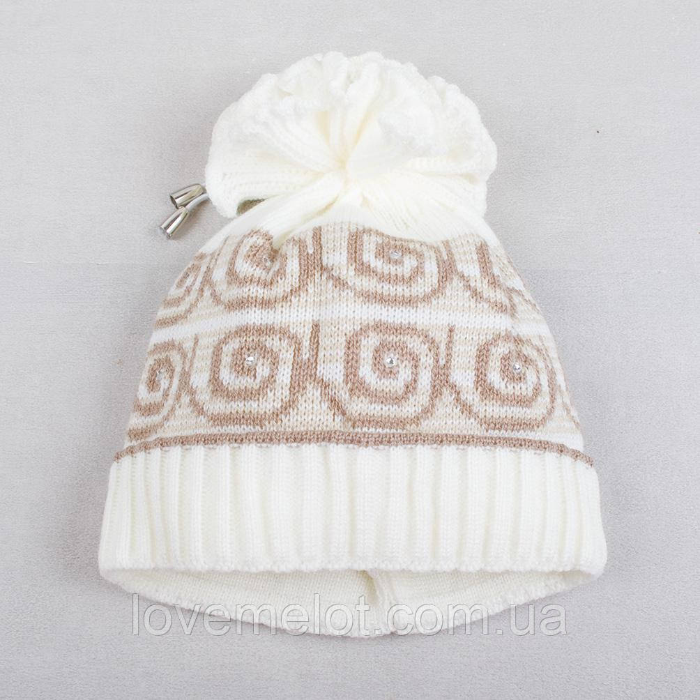 """Детская шапка, шапочка теплая для девочки на 3-6 лет """"Крем-брюле"""""""