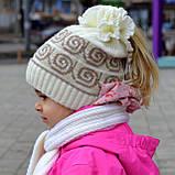 """Детская шапка, шапочка теплая для девочки на 3-6 лет """"Крем-брюле"""", фото 2"""