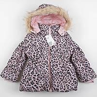 """Куртка детская зимняя теплая еврозима на флисе H&M """"Леопардовый гламур""""  2-3 года для девочки"""