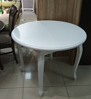 Стол круглый Лион белый 100(+40)*100 обеденный раскладной деревянный