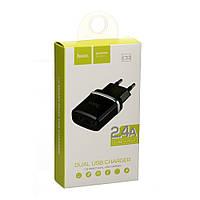 Мережевий зарядний пристрій USB Hoco C12 Black (2.4A), фото 1