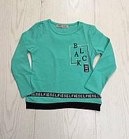 Батник для девочки на 3-6 лет бирюзового цвета с надписью оптом