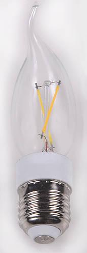 Светодиодная лампа стекло свеча на ветру Е14 2W