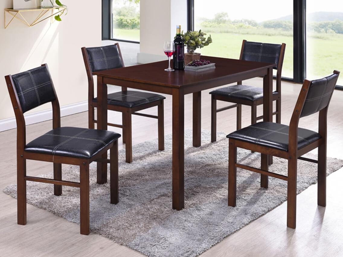 Комплект Лорри: стол + 4 стула шоколад к/з черный