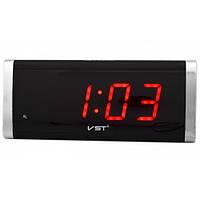 Настільний годинник з будильником, VST 730, Червона підсвітка, електронний годинник
