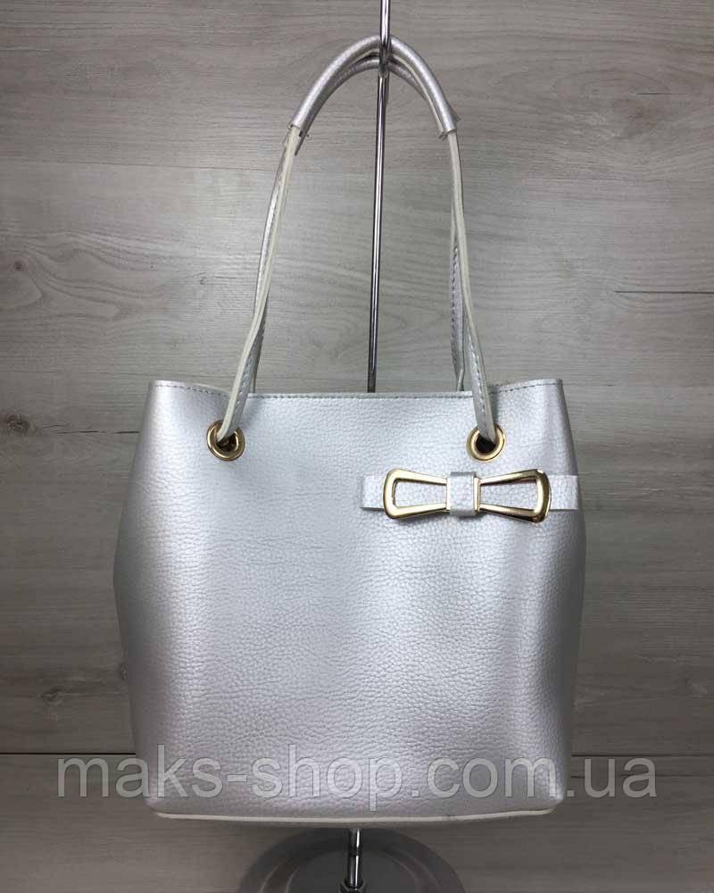 d5f8d3074490 Женская сумка 2 в 1 кожзам Бантик серебряного цвета - Maks Shop- надежный и  перспективный