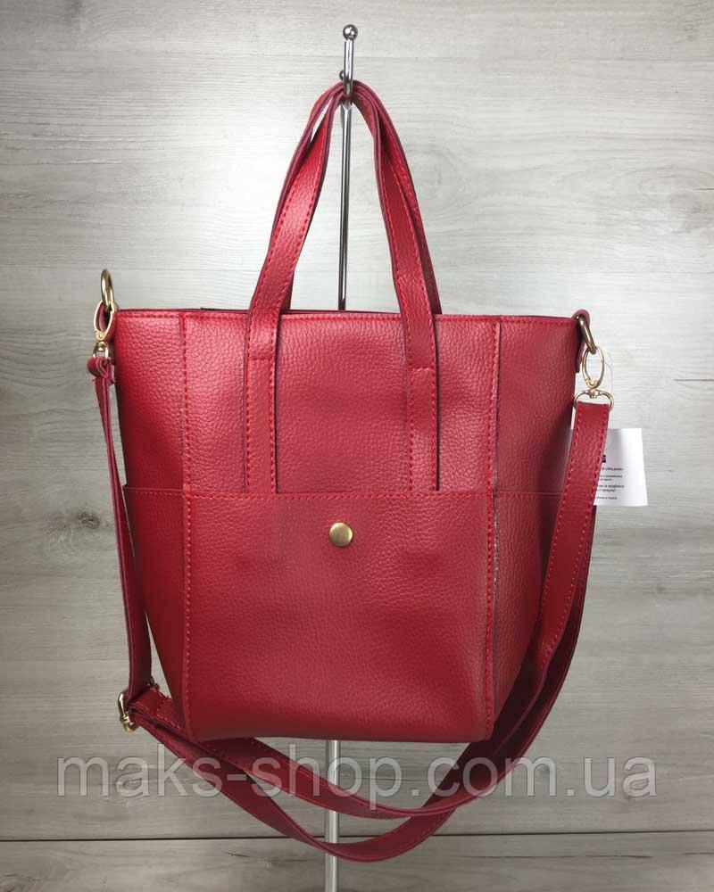 920850b48728 Женская сумка Милана с классическим ремнем красного цвета - Maks Shop-  надежный и перспективный интернет