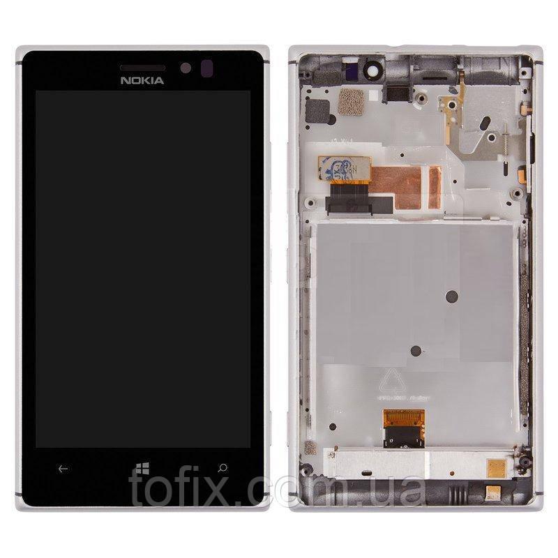 Дисплейный модуль (экран и сенсор) для Nokia Lumia 925, с рамкой, серебристый, оригинал