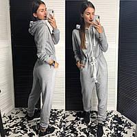 Самый Модный КОМБИНЕЗОН Женский Спорт с капюшоном трехнить серый