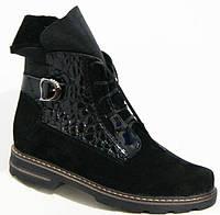 Ботинки женские зимние кожа замша черные большие размеры BR0007