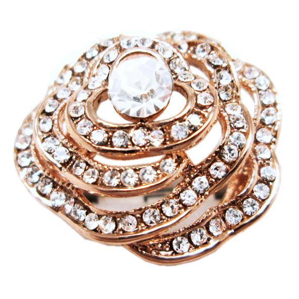 Кольцо Женское Цветок под Розовое Золото 14К с Белыми Фианитами, Позолоченные Кольца, Бижутерия 17