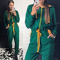 Стильный Комбинезон Женский спорт тёплый с капюшоном впереди на змейке зеленый