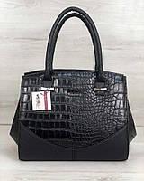 Женская сумка Виржини черного цвета со вставками черный крокодил