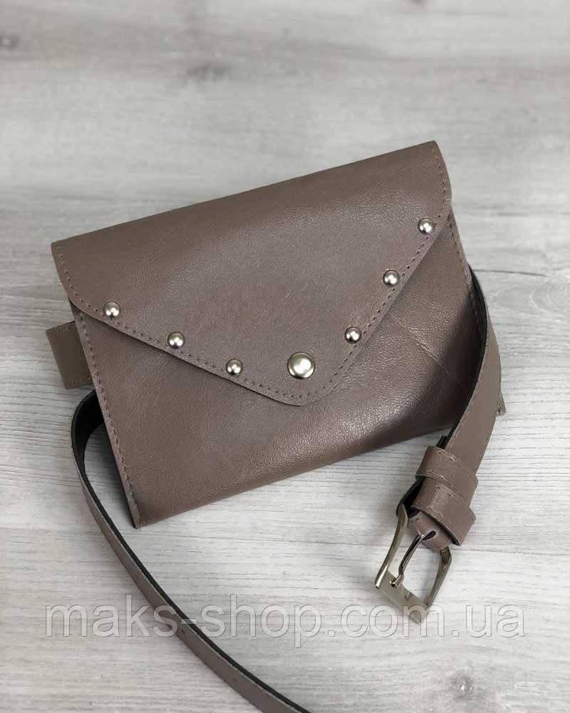 b6453b52f8a7 Женская мини сумка-клатч с ремешком на пояс кофейного цвета - Maks Shop-  надежный