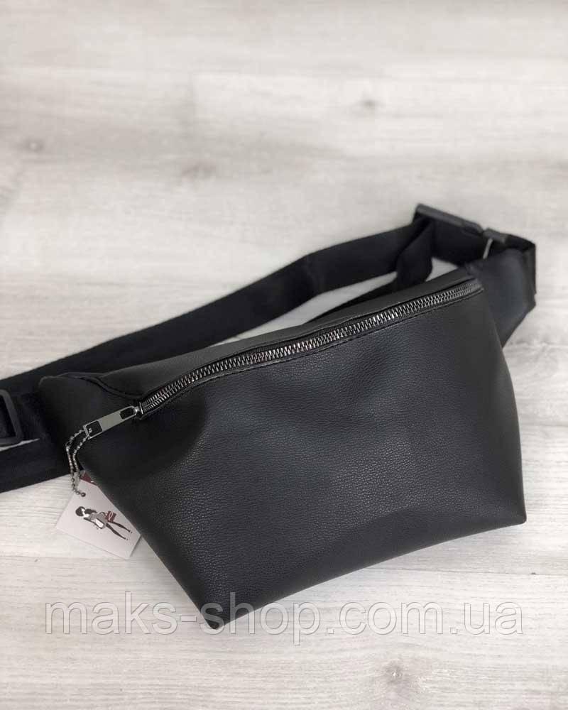 a1dff29659f6 Стильная и в тоже время строгая сумка на пояс черного цвета (никель) - Maks