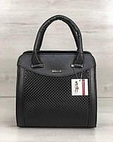 Женская сумка Эбби черного цвета со вставками черная лаковая клетка