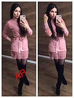 Женское платье машинной вязки с кружевом в расцветках. АР-5-1218