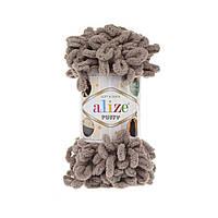 Пряжа Alize Puffy 530 бежевый (Пуффи Ализе) для вязания без спиц руками
