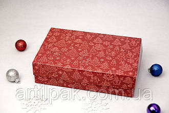 Коробочка для еклерів та зефіру 230*150*60 Святкова червона