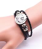 Кожаный браслет «Full House» 21 см черный, фото 3
