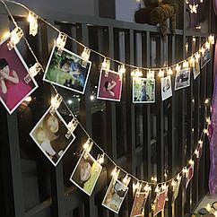 Гірлянда LED з прищіпками для фото гірлянди, декор до Дня Закоханих