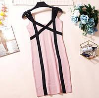 Женское трикотажное платье на бретелях розовое, фото 1
