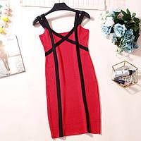 Женское трикотажное платье на бретелях красное, фото 1